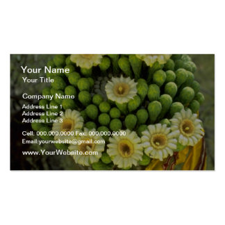 yellow Smiley face with saguaro blooms flowers Business Card Template