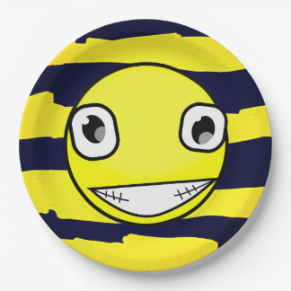 Yellow Smiley Face Yellow Black Stripes Party Paper Plate