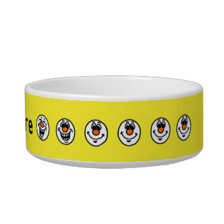 Yellow smiley faces personalised bowl