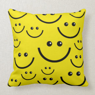 yellow smiley happy face throw pillow