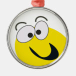 YELLOW SMILEY ROUND METAL CHRISTMAS ORNAMENT