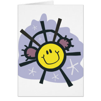 Yellow smiley snowflake with ear muffs card
