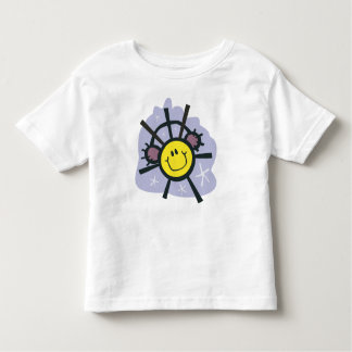 Yellow smiley snowflake with ear muffs shirt