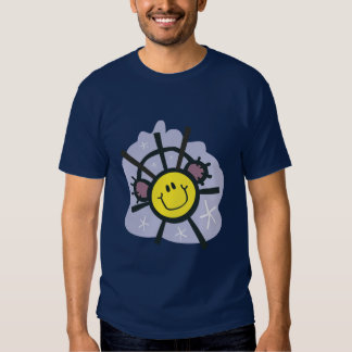 Yellow smiley snowflake with ear muffs t shirt