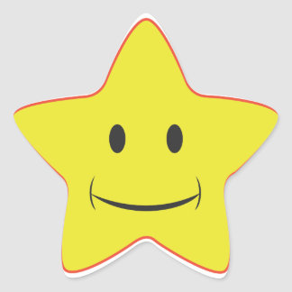 Yellow Smiley Star  Sticker