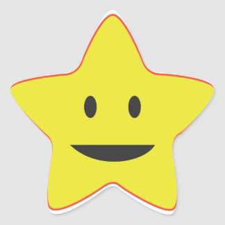 Yellow Smiley Star Teacher Sticker