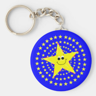 Yellow Smiley Star Whirl Key Chain