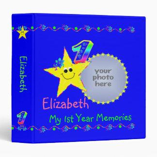 Yellow Smiley Stars 1st Year Memories Album 3 Ring Binder