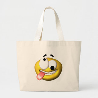 Yellow smiley that went nuts large tote bag