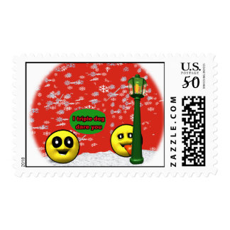 Yellow smiley triple dog dare you postage