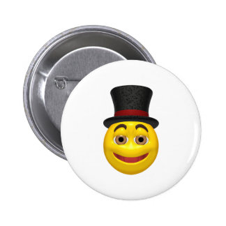 Yellow smiley wearing a top hat button