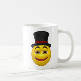 Yellow smiley wearing a top hat mugs