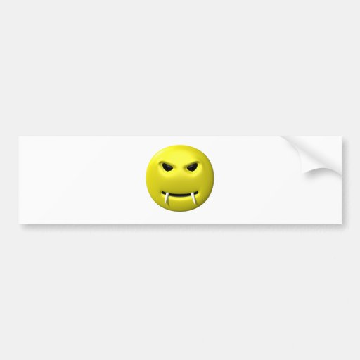 yellow smiley with fangs car bumper sticker