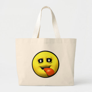 Yellow smiley with his tounge hangin out large tote bag