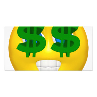 yellow smiley with money eyes card