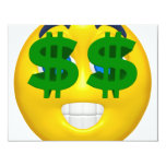 yellow smiley with money eyes 4.25x5.5 paper invitation card