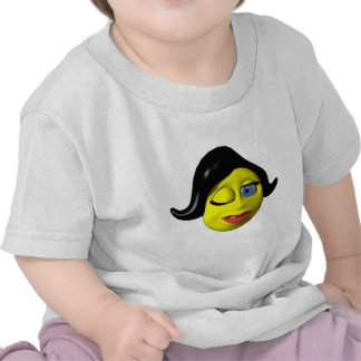 Yellow smiley woman winking at you tees