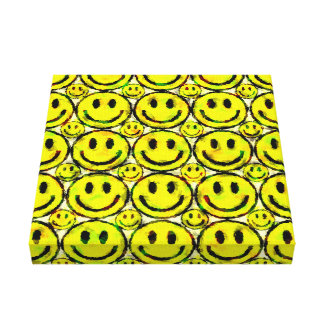 YELLOW SMILEYS CANVAS PRINT