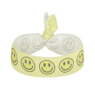 YELLOW SMILEYS ELASTIC HAIR TIES