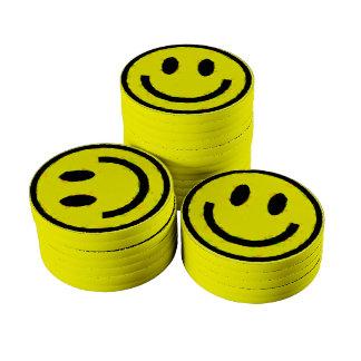YELLOW SMILEYS POKER CHIPS SET