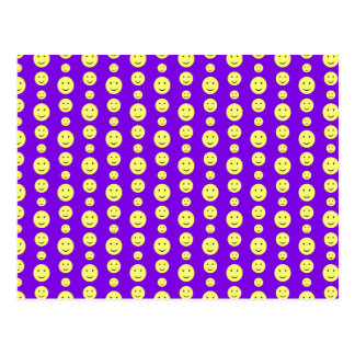 Yellow Smilies on Purple Postcard