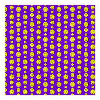 Yellow Smilies on Purple Poster