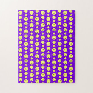 Yellow Smilies on Purple Jigsaw Puzzles