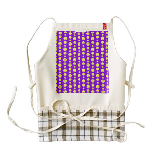 Yellow Smilies on Purple Zazzle HEART Apron