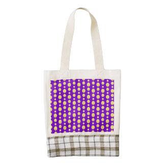 Yellow Smilies on Purple Zazzle HEART Tote Bag