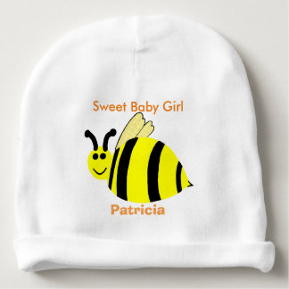 Yellow Smiling Bumble Bee Sweet Baby Girl Baby Beanie
