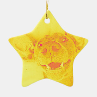 Yellow smiling doggy ceramic ornament