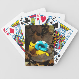 Yellow snail amidst Autumn leaves Bicycle Playing Cards