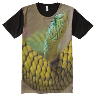Yellow Snake Green eyes All-Over-Print T-Shirt