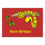 Yellow Snake in a Tree Reptile Birthday Blank Card