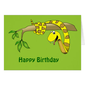 Yellow Snake in a Tree Reptile Birthday Card