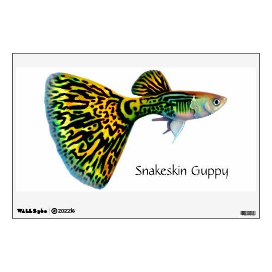 Yellow Snakeskin Cobra Fancy Guppy Wall Decal