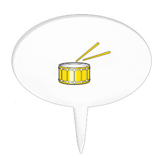 yellow snare graphic with sticks cake topper