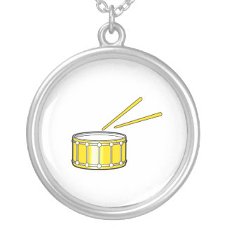 yellow snare graphic with sticks round pendant necklace
