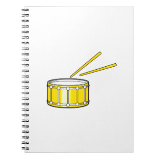 yellow snare graphic with sticks spiral notebook