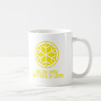 yellow snow coffee mug