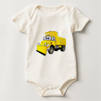 Yellow Snow Plow Cartoon Baby Bodysuit