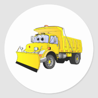 Yellow Snow Plow Cartoon Classic Round Sticker