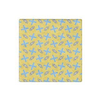 Yellow snowboard pattern stone magnet