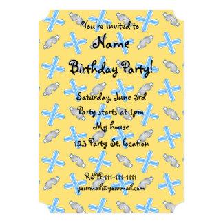 Yellow snowboard pattern 5x7 paper invitation card