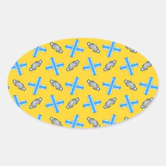 yellow snowboard pattern oval sticker