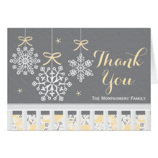 Yellow Snowflake Mobile Baby Shower Thank You Card
