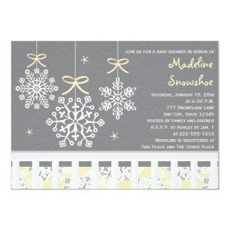 Yellow Snowflake Mobile Crib Baby Shower Invite