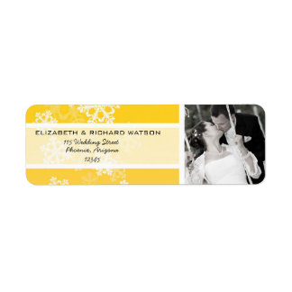 Yellow Snowflakes Christmas Wedding Label