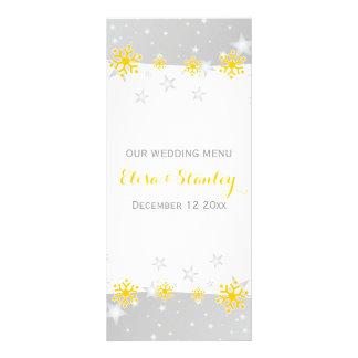 Yellow snowflakes, grey stars wedding menu card