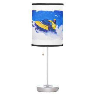 Yellow Snowmobile in Blizzard ANY COLOR BACKGRND Table Lamp